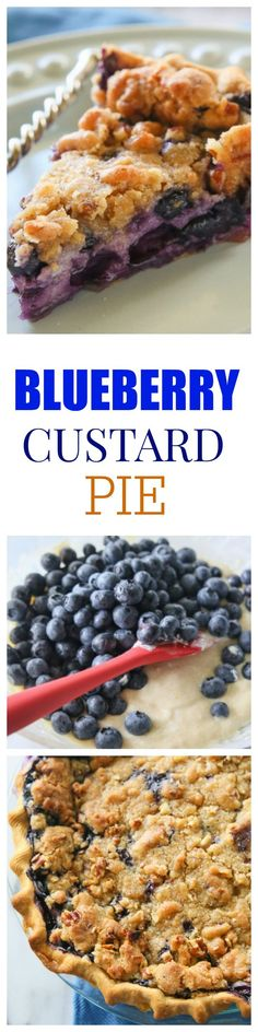Blueberry Custard Pie - A creamy blueberry custard topped with a sweet streusel. http://the-girl-who-ate-everything.com