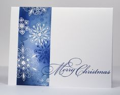 Beautiful snowflake card, using heat resist technique.  Single layer, very elegant.