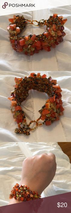 Francesca's 🖤 Beaded Adjustable Orange Bracelet Francesca's 🖤 Beaded Adjustable Orange Bracelet - AMAZING condition, perfect accessory for dressing up any outfit - always open to reasonable offers - NO TRADES Francesca's Collections Jewelry Bracelets
