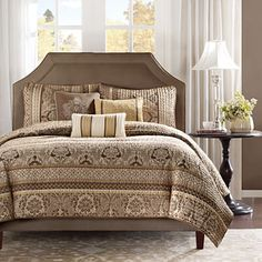 Madison Park Bellagio King Size Quilt Bedding Set - Brown, Jacquard Damask – 6 Piece Bedding Quilt Coverlets – Faux Silk Bed Quilts Quilted Coverlet: Gateway Coverlet Bedding, Silk Bedding, Comforter Sets, Comforters, Queen Bedding, Queen Quilt, King Comforter, Pillow Shams, Target