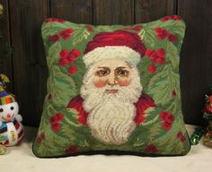 Beautiful Hand Crafted Stitched Wool Needlepoint Christmas Pillow Cushion Cover #s5 by needlepointonline on Etsy
