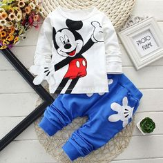 Hot Seller!!! Mickey Mouse Baby Girls /Boys Sets Clothing Cartoon Kids Print T…