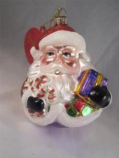 2012 Radko Sparkle Bright Christmas Roly Poly Santa Glass Ornament NWT