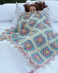 Bernat: Pattern Detail - Denimstyle - Floral Motif Kid's Throw (crochet)