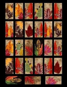 """Autumn Leaves 1""""x2"""" Domino Size Collage Sheet Print"""