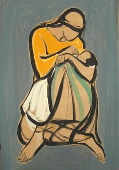 """art & favourites <3 2  'Tenderness'  - Paul Guiragossian - born in 1926 in Jerusalem (acrylic on brown packing paper) Guiragossian family collection, currently exhibited in the """"L'Empire des Meres"""" exhibition in Emmagoss Beirut."""
