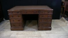 - Antique Victorian partners desk in mahogany - Good size to this piece with plenty drawers, great for a home office set up - Leather has seen some wear, some people like this patina, if not we can get it re-leathered Please let us know if you would like to view this piece in our Canonbury Antiques Herts showroom, just 25 minutes north of London - Offered in great shape ready for home use right away - We ship to every corner of the planet Office Set, Home Office, Partners Desk, Showroom, Corner Desk, Living Room Decor, Drawers, Decor Ideas, Victorian