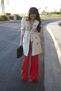 want the coat and wide leg red pants!! LOVE