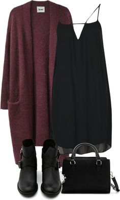 burgundy cardigan & black dress