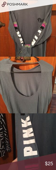 Victoria's Secret pink open back tee Great shape, no stains holes ect. Greyish color with pink wrote on both sleeves PINK Victoria's Secret Tops Tees - Long Sleeve