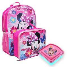 5d881fb402e Girls Minnie Mouse Backpack   Lunch Bag w  Sandwich Container Pink