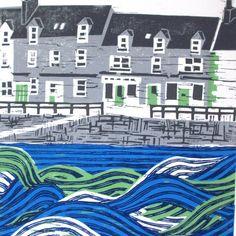 Harbour Life linocut print   Zebedee lino cut