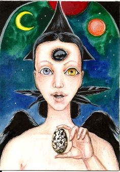 RAVEN CROWN RYTA OCCULT ART WITCH HALLOWEEN GOTHIC FORTUNE TELLER SURREAL