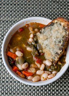 Autumn veggie soup with pesto and cheese toast
