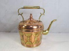 Antique Copper Tea Pot/Kettle W/Brass Handles