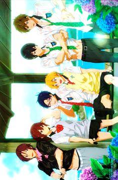 Matsuoka Rin and Gou,  Ryugasuki Rei, Hazuki Nagisa, Nanase Haruka and Tachibana Makoto