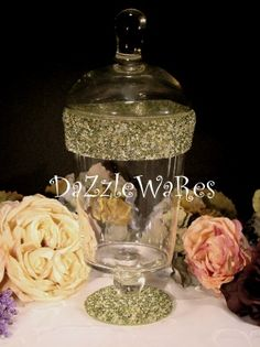 MOSS GREEN - Beaded Apothecary Jars in assorted styles and over 36 colors! Use for Holiday Decorating by changing the inside decor or Everyday use! http://www.dazzlewares.com/BeadedCandleHoldersJars.php