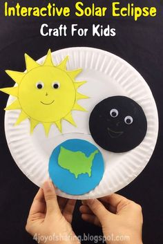 Easy and fun craft to introduce Solar Eclipse to little kids. #stem #steam #science #craftsforkids #kidscraft #kidsactivities #preschool #prek #kindergarten #crafts