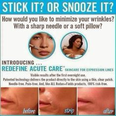 Wrinkles got you down? Fill them while you sleep with Rodan + Fields Acute Care! No needles required.  Contact me www.kcarickhoff.myrandf.com
