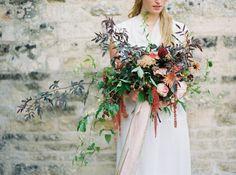 Large scale assymetric August bridal bouquet