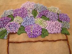 What beautiful french knots! hydrangeas made with french knots