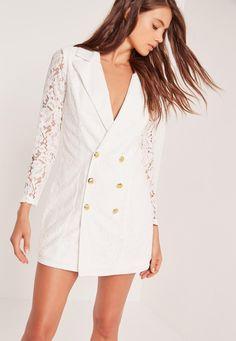 Missguided - Lace Blazer Dress White