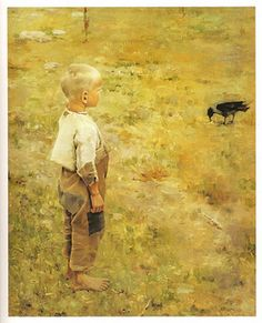 Mahtavia taidekuvia !!  Gallen-Kallela, Akseli (1865-1931) - 1884 Boy With a Crow (Ateneum Art Museum, Helsinki, Finland)