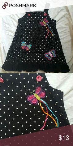 Toddler dress Cute black dress with white polka dots with colorful butterflies. Very cute! Dresses