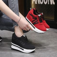 Women's Casual Shoes Fashion Wedges Sneakers Lightweight Shoes | Touchy Style Jeans And Sneakers Outfit, Girls Sneakers, Casual Sneakers, Casual Shoes, Chunky Sneakers, Shoes Sneakers, Shoes Wedges Boots, Womens Shoes Wedges, Womens Fashion Sneakers
