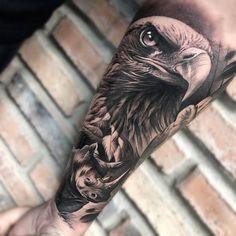 Matias Noble's black and grey realistic tattoo - Tattoo artist Matias Noble, black&grey portrait realistic tattoo, Noble Art Gallery Animal Sleeve Tattoo, Lion Tattoo Sleeves, Animal Tattoos, Badass Tattoos, Leg Tattoos, Sleeve Tattoos, Tattoos For Guys, Tatoos, Tattoo Aigle