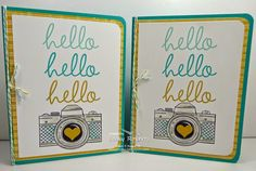 Becky's CAS card with Hi There, Snapshot, Lullaby dsp, & more. All supplies from Stampin' Up!