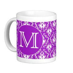 Your Letter. Purple and White Damask Pattern. Coffee Mug Create Your Own Mug, Wedding Mugs, Cheap Shopping, White Damask, Personalized Mugs, Photo Mugs, Coffee Mugs, Lettering, Purple