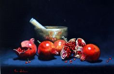 https://flic.kr/p/EWVVmN | Singing Bowl with Pomegranates 44cmx29cm Sold | By Vicki_Sullivan_Oil _on_linen_Still_life_Fruit_Organic_Homegrown_Australian_Artist_Representational_Painting_Classical_Painting_Pomegranates_Red_Singing_Bowl