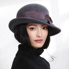 926e6b4d049 Bow felt cloche hat for women fashion warm winter wool hats Top Hats For  Women
