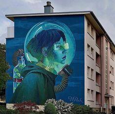 Street Art by Natalia Rak in Luxembourg 3d Street Art, Urban Street Art, Murals Street Art, Graffiti Murals, Amazing Street Art, Street Art Graffiti, Street Artists, Graffiti Lettering, Graffiti Artists