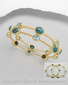 $72.00Product Features: Bangle  Product Type: Bracelet Metal: Brass Decorated With: Lab-Created Sky Blue Topaz Semi GemStones: Copper Turquoise (Reconstructed) Setting Type: Bezel Plating: 18k Yellow Gold  Width: 12 mm./ pc. Diameter: 65 mm.