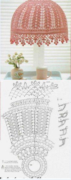 Crochet lampshade in pink. Crochet Motifs, Thread Crochet, Love Crochet, Irish Crochet, Crochet Doilies, Crochet Lace, Crochet Stitches, Knitting Patterns, Crochet Motif
