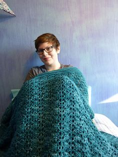 Pine Forest Baby Blanket by Ingrid Aartun Bøe. malabrigo Rios, Teal Feather color.