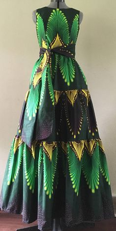 Royal Java Print Tiered Maxi Dress With Pockets and Tie Belt