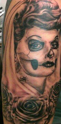 "I love Lucy muerte tattoo done by ryan""sketch""martin"