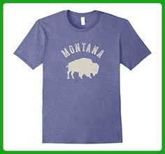Mens Vintage Montana Bison Buffalo T-shirt 2XL Heather Blue - Animal shirts (*Amazon Partner-Link)