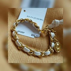 """❤New listing!❤Coach bracelet nwt Fashionable gold tone links intertwined with soft chalk white leather Lobster clasp 7"""" Coach Jewelry Bracelets"""