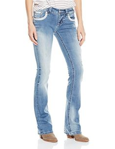 Miss Me Women's Beaded Embellished Boot Cut Denim Jean, Medium, 26 * Check out this great article. #WomensJeans