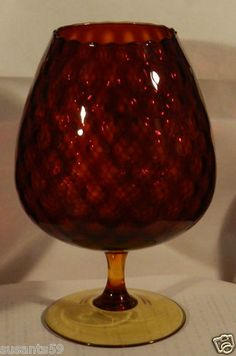 """Vintage Large Pedestal Mount Amberina Compote! Beautiful Red/Yellow Coloring. Highly Desired Collectable. Starting at $21.50 + $10.50 Shipping. 9 1/2"""" Tall"""