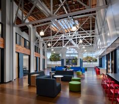 Comfortable College Design with Dynamic Study Rooms: Spacious College Track Architecture Lobby With Colorful Furniture
