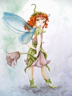 Watercolor painting, completed in Photofiltre and Photoshop. Prilla is a friend of Tinkerbell. They belong to Disney's fairy. Tinkerbell And Friends, Disney Fairies, Fairy Drawings, Cartoon Drawings, Disney Love, Disney Art, Hollow Art, Pixie Hollow, Elves And Fairies