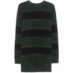 ALEXANDER WANG Piercing Black Green // Pullover with piercing details (£1,245) ❤ liked on Polyvore featuring tops, striped top, alexander wang, green top, crew neck top and crew top