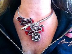 Lotsa Loops Zipper Necklace by ArtologieDesigns on Etsy
