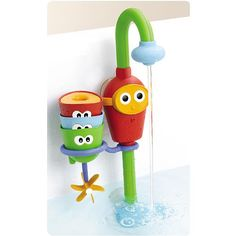 Favorite Bath Toy Ever of All Time. Water running all the time without wasting water. $27 from amazon. Yes.