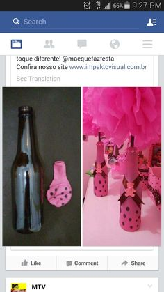 Balloons over bottle Diy Bottle, Wine Bottle Crafts, Shower Party, Baby Shower, Girl Birthday, Birthday Parties, Party Centerpieces, Bottles And Jars, Balloon Decorations